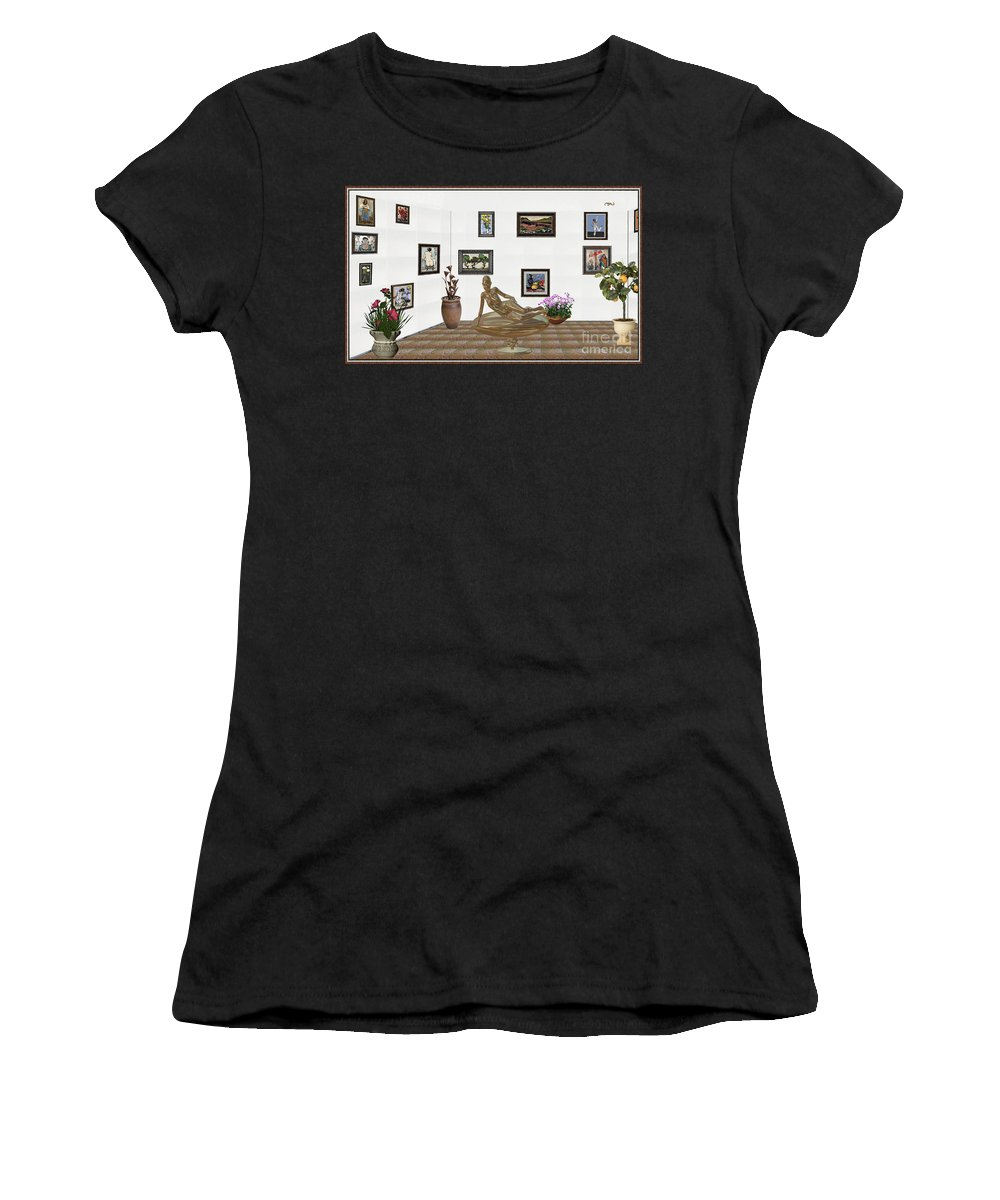 People Women's T-Shirt (Athletic Fit) featuring the mixed media digital exhibition _ Statue of girl 48 by Pemaro