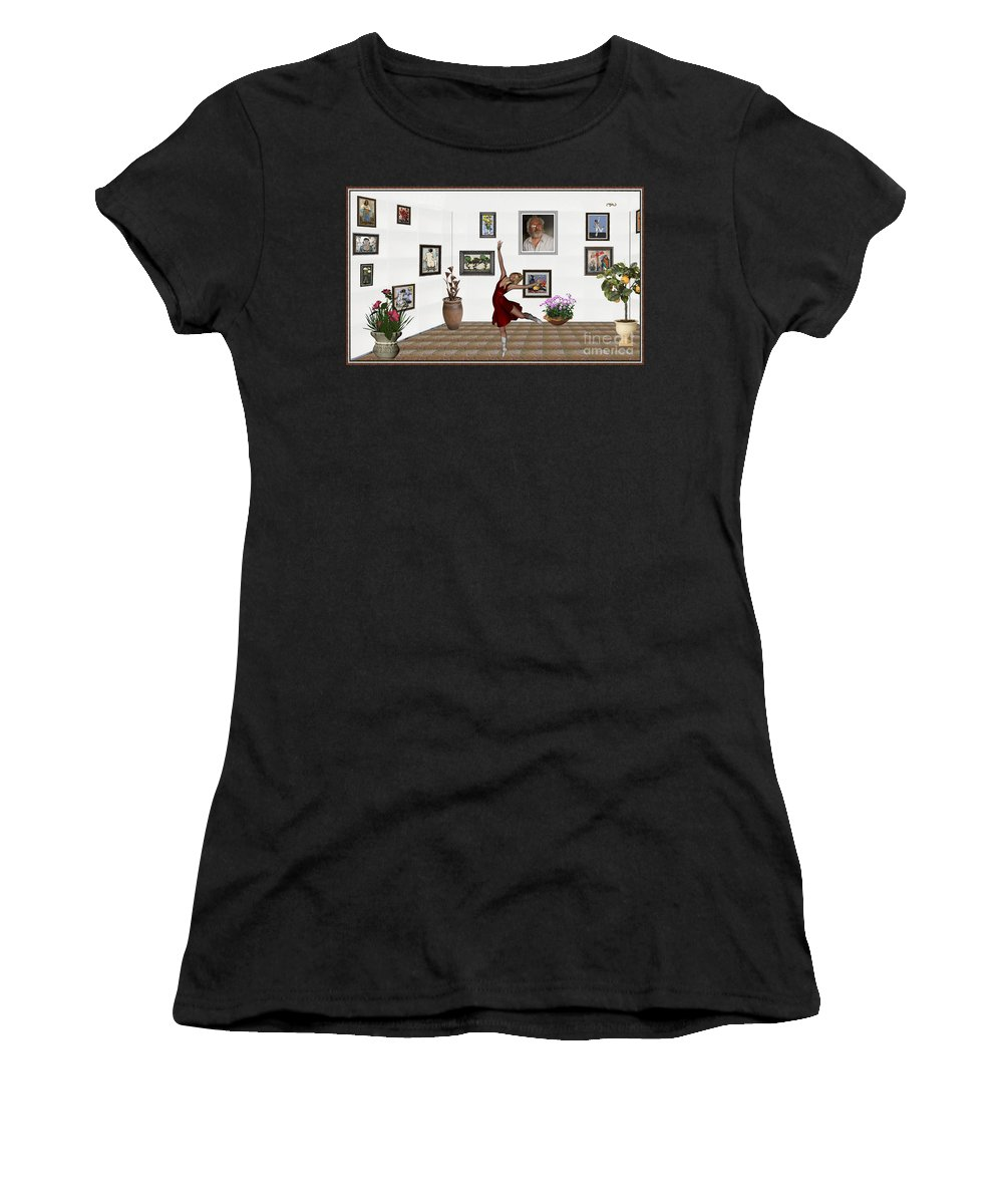 Modern Painting Women's T-Shirt featuring the mixed media Digital Exhibition _dancing Girl 221 by Pemaro