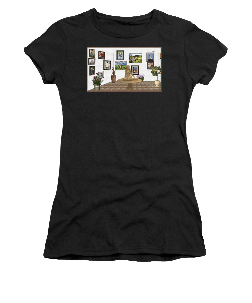 Modern Painting Women's T-Shirt featuring the mixed media digital exhibition _Statue 2 of posing girl 221 by Pemaro