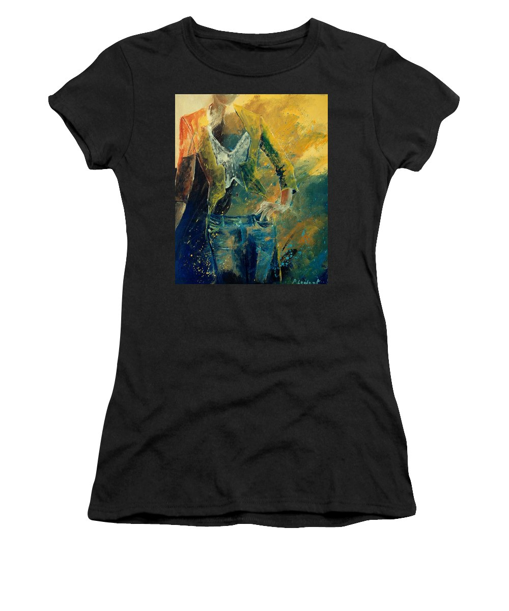 Woman Girl Fashion Women's T-Shirt (Athletic Fit) featuring the painting Dinner Jacket by Pol Ledent
