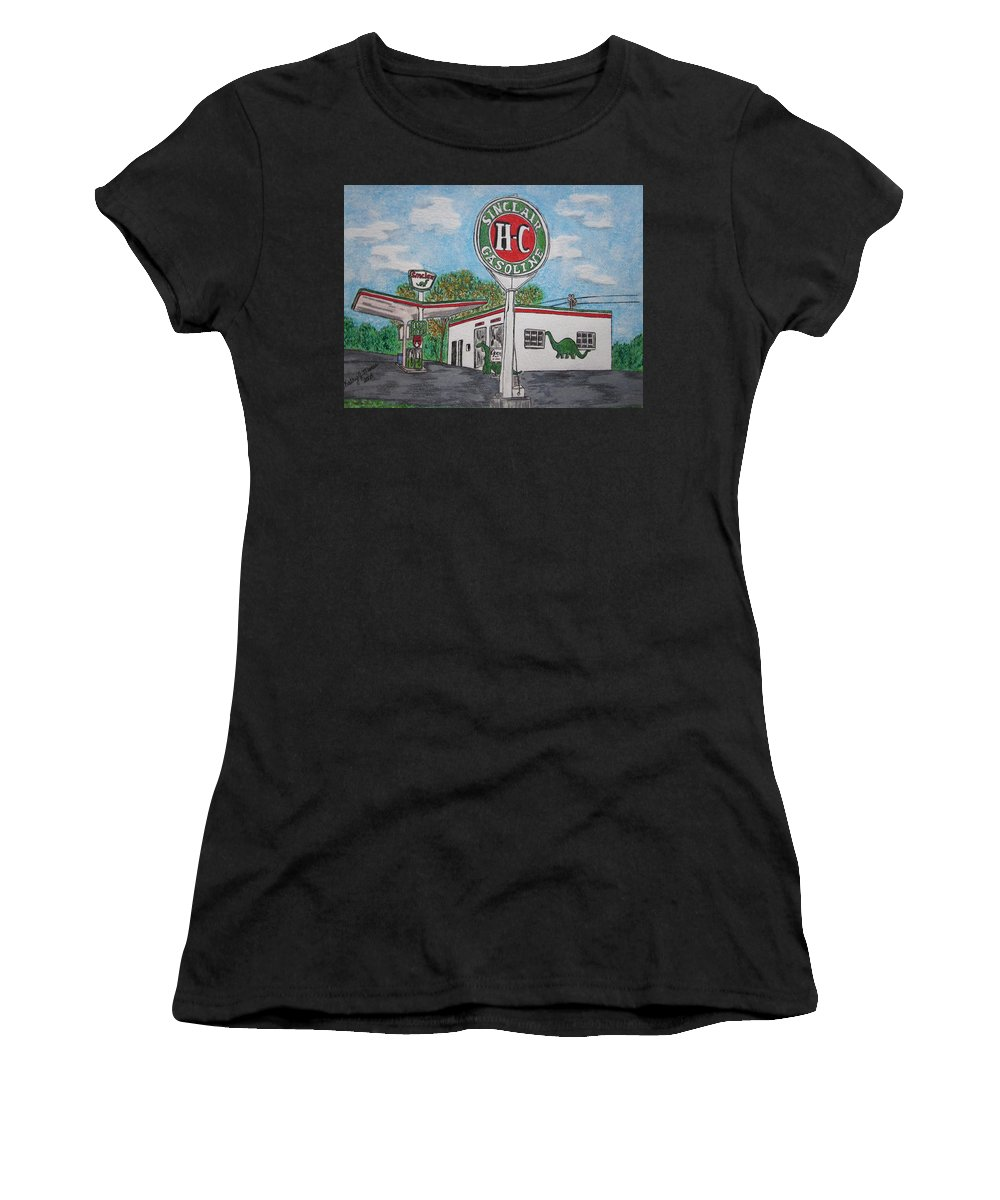 Dino Women's T-Shirt featuring the painting Dino Sinclair Gas Station by Kathy Marrs Chandler