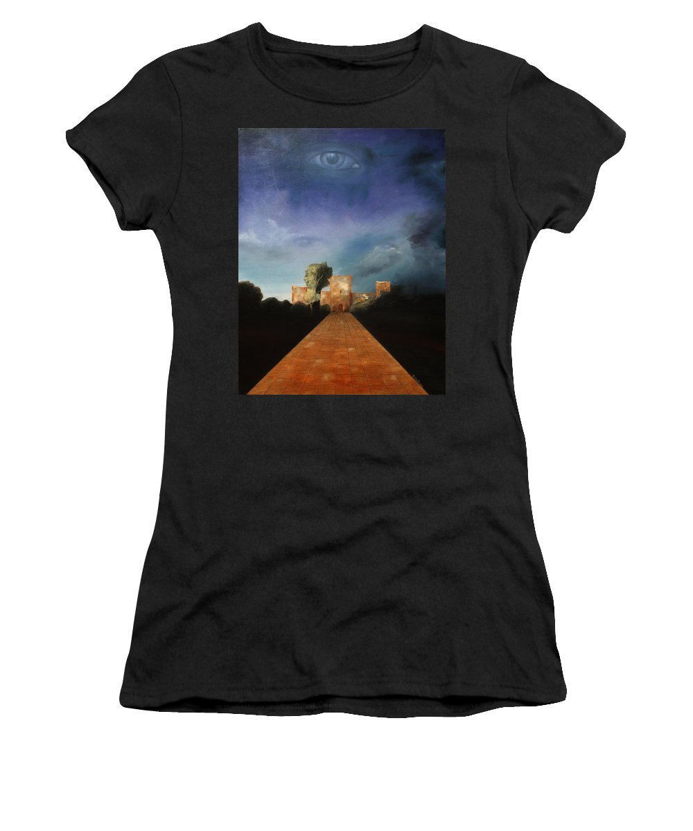 Disclosure Of The Hidden Women's T-Shirt (Athletic Fit) featuring the painting Disclosure Of The Hidden by Darko Topalski