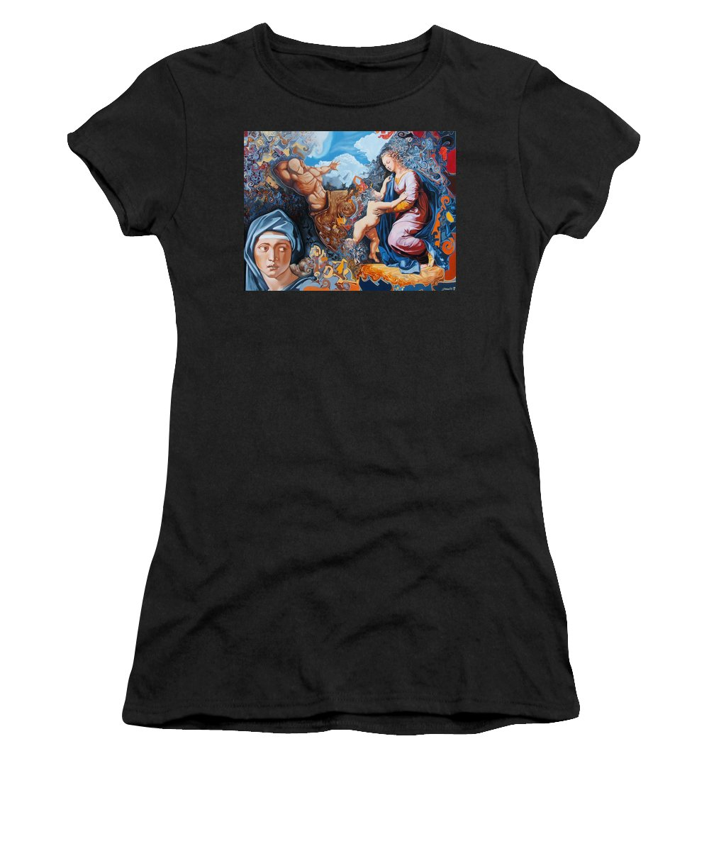 Surrealism Women's T-Shirt (Athletic Fit) featuring the painting Disintegration Of The Old Ancient World by Darwin Leon