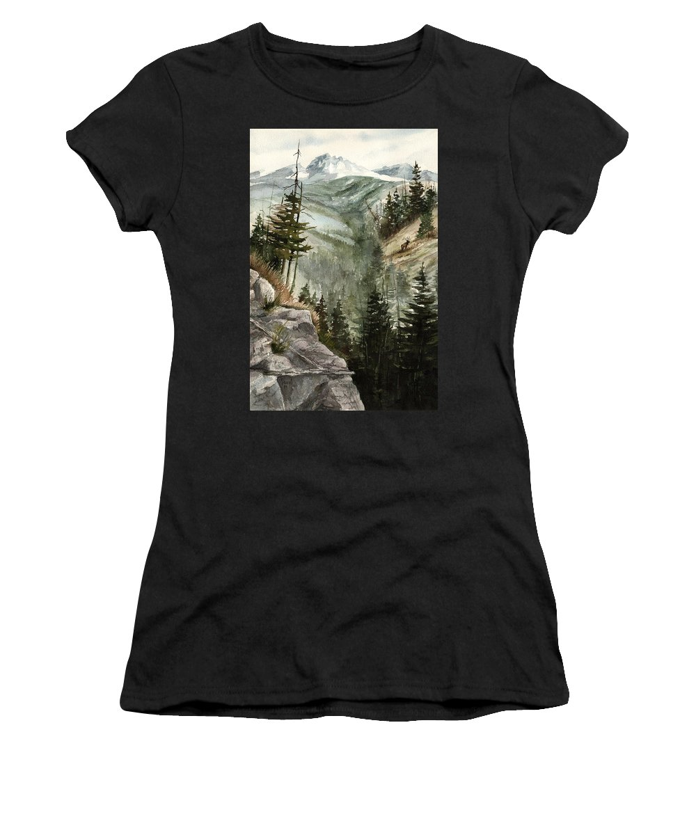 Mountian Elk Landscape Wildlife Trees Women's T-Shirt (Athletic Fit) featuring the painting Distant Dream by Sam Sidders