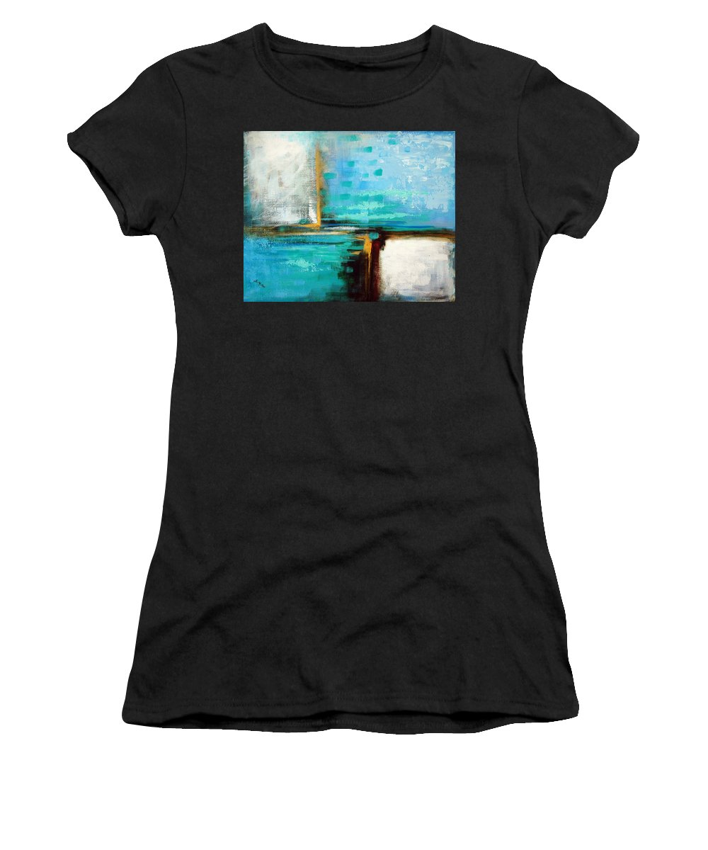 Abstract Women's T-Shirt (Athletic Fit) featuring the painting Divided Loyalties by Suzanne McKee