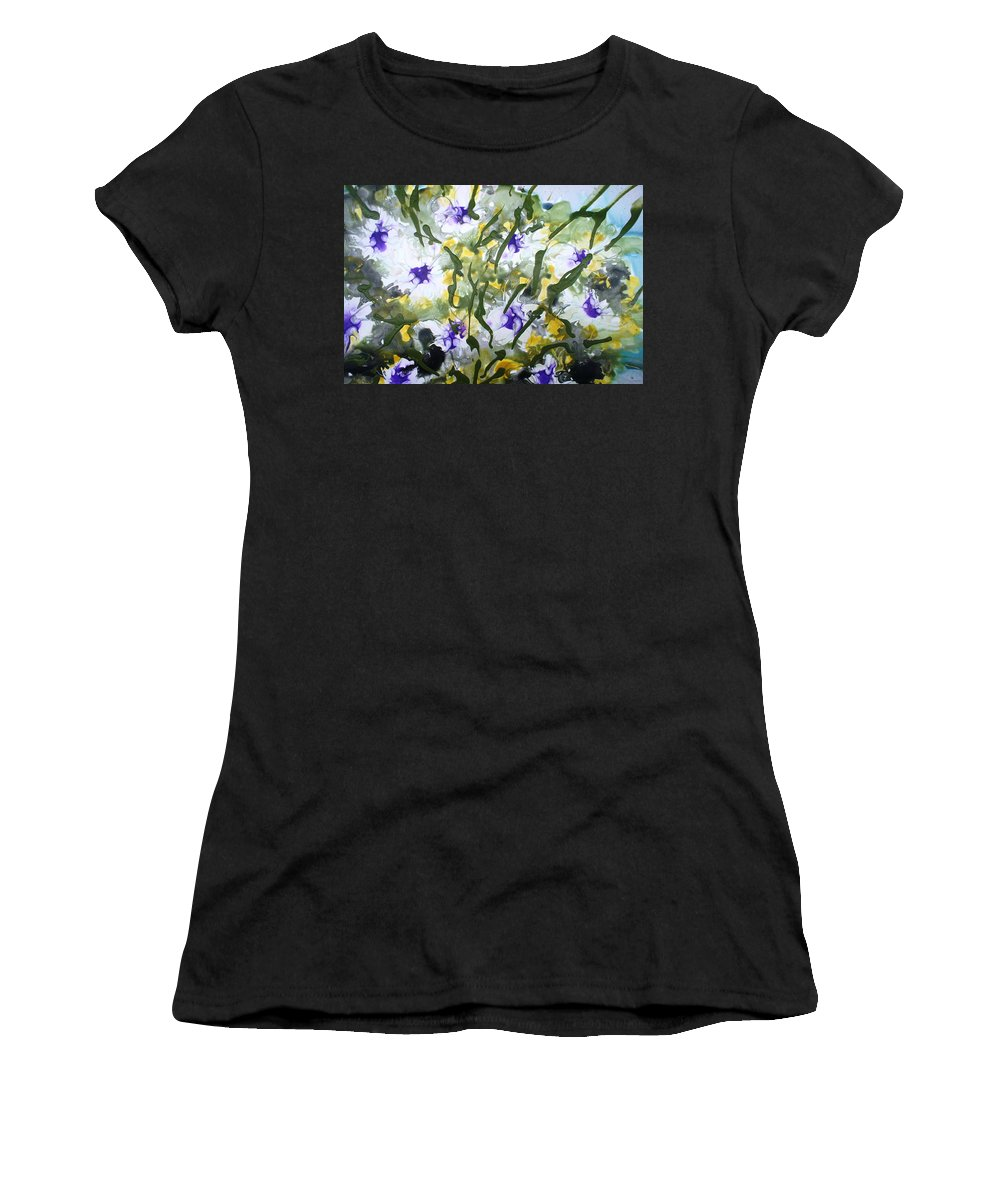 Flowers Women's T-Shirt (Athletic Fit) featuring the painting Divine Blooms-21172 by Baljit Chadha