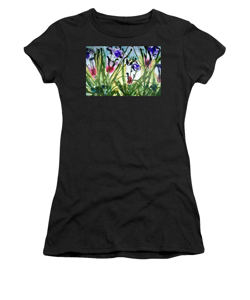 Flowers Women's T-Shirt (Athletic Fit) featuring the painting Divine Blooms-21174 by Baljit Chadha