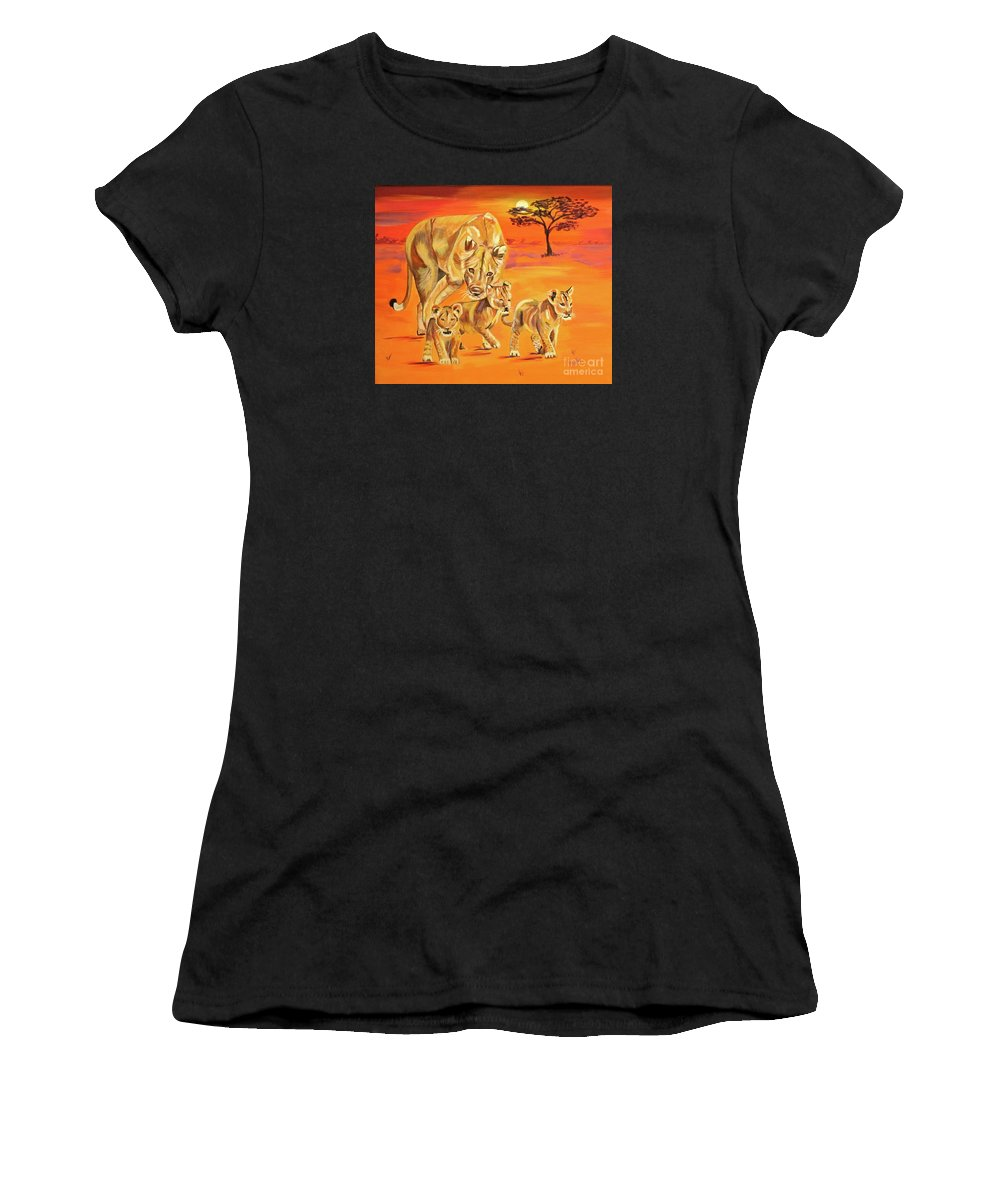 Lioness Women's T-Shirt featuring the painting Do What Mom Says by Phyllis Kaltenbach