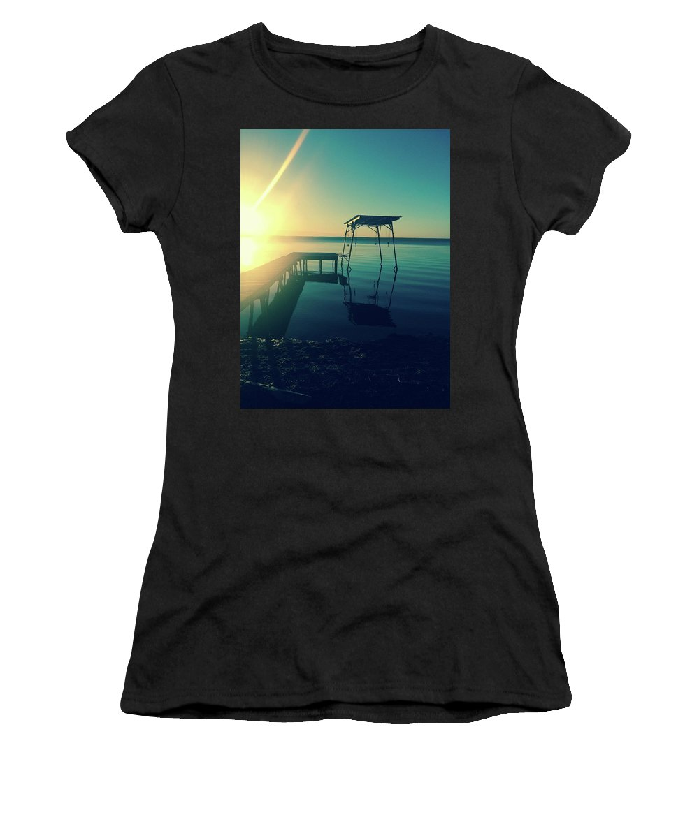 Seneca Lake Women's T-Shirt (Athletic Fit) featuring the photograph Dock by Julie Beckwith