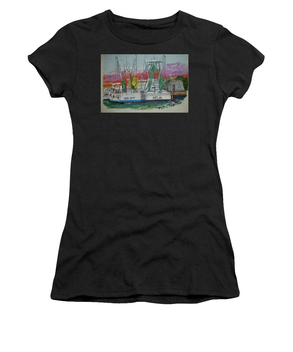 Holden Beach Women's T-Shirt featuring the painting Docking Buddies by Bill Gray