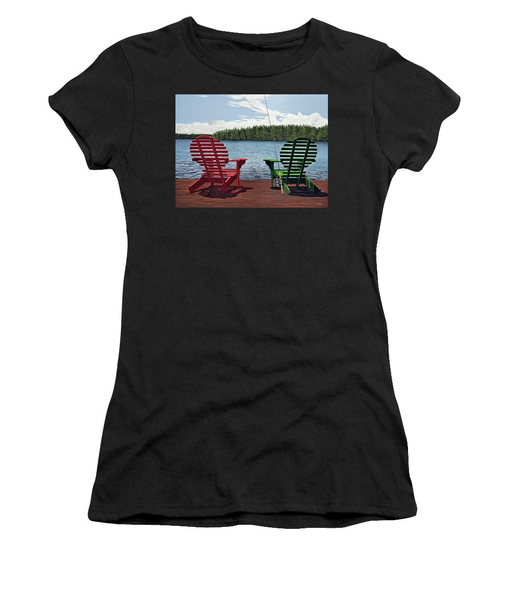 Landscapes Women's T-Shirt (Athletic Fit) featuring the painting Dockside by Kenneth M Kirsch