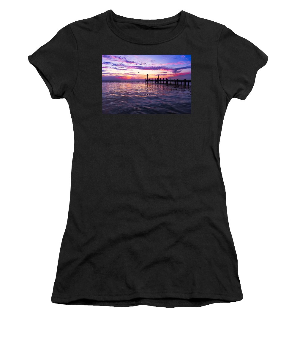 Dock Women's T-Shirt (Athletic Fit) featuring the photograph Dockside Sunset by Janet Fikar