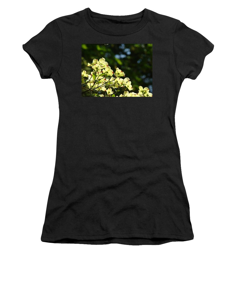 Dogwood Women's T-Shirt (Athletic Fit) featuring the photograph Dogwood Flowers White Dogwood Tree Flowers Art Prints Cards Baslee Troutman by Baslee Troutman