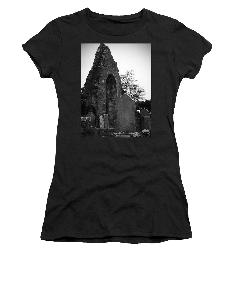 Irish Women's T-Shirt (Athletic Fit) featuring the photograph Donegal Abbey Ruins Donegal Ireland by Teresa Mucha
