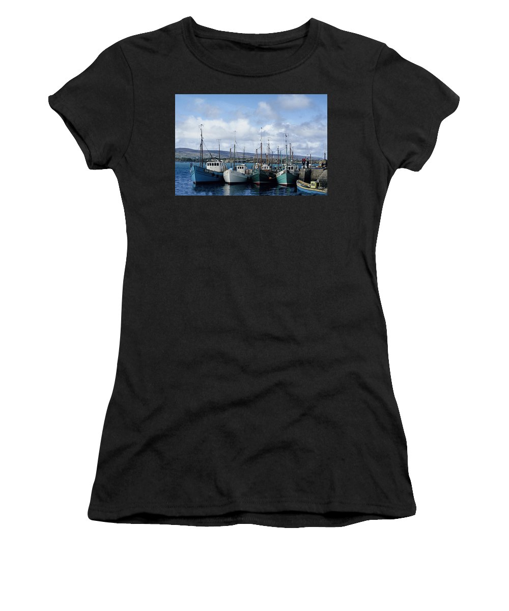 Fishing Boats Ireland Women's T-Shirt (Athletic Fit) featuring the photograph Donegal Fishing Port by John Farley