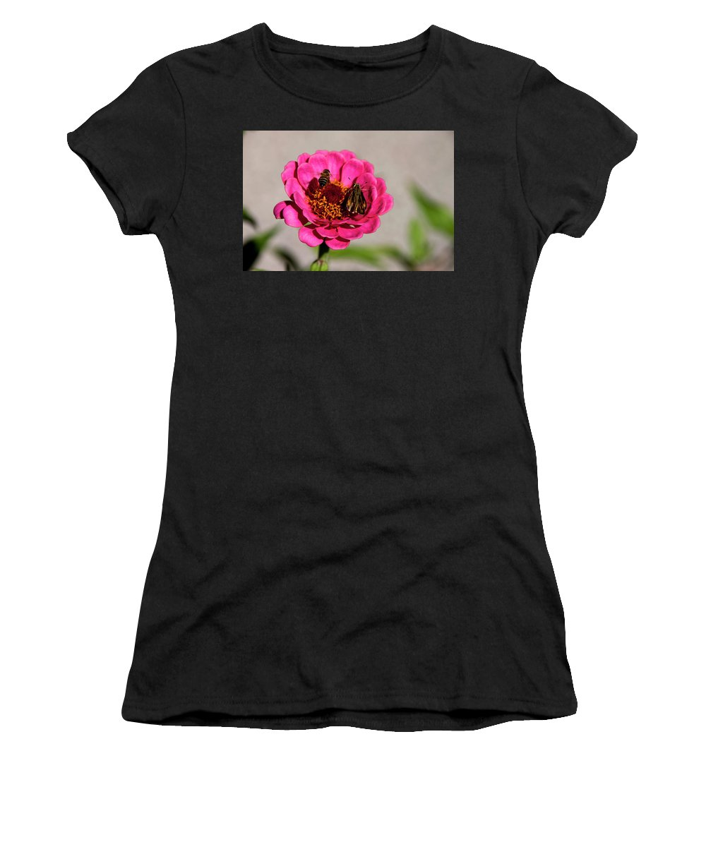 Honey Bee Women's T-Shirt (Athletic Fit) featuring the photograph Don't Be A Buzz Kill by Robin Lyn