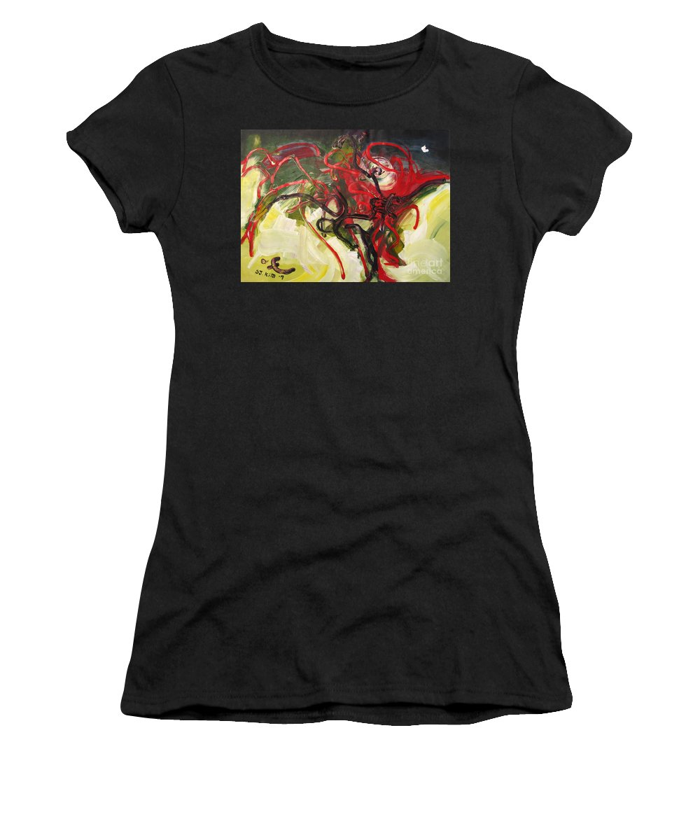 Abstract Paintings Paintings Abstract Art Paintings Women's T-Shirt (Athletic Fit) featuring the painting Don't Bother Me by Seon-Jeong Kim