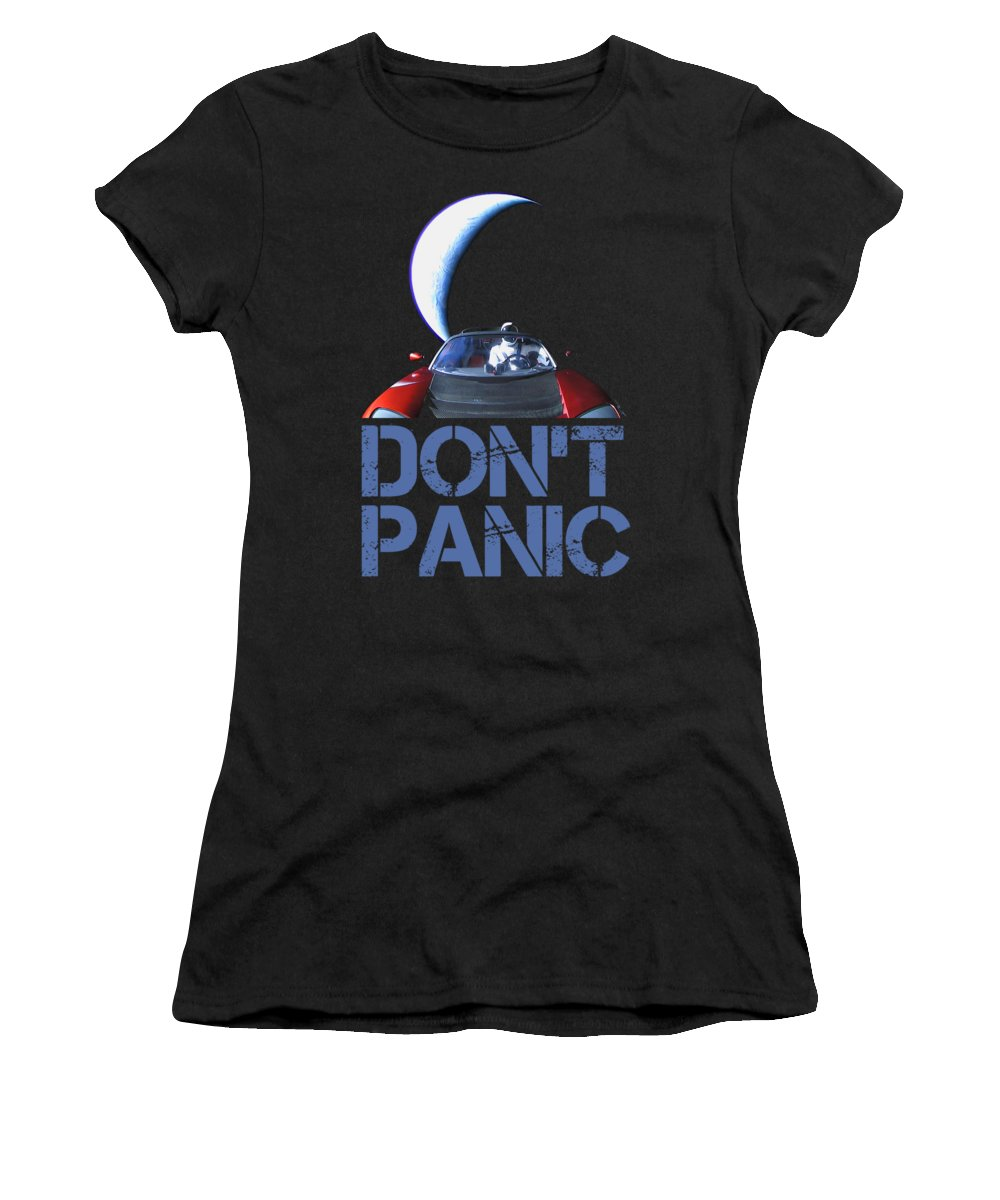 Dont Panic Women's T-Shirt featuring the mixed media Don't Panic Starman by Filip Schpindel