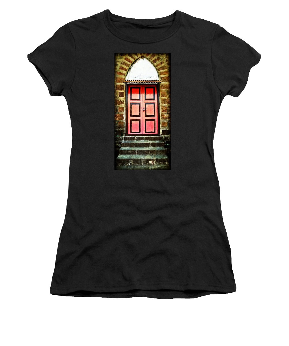 Women's T-Shirt featuring the photograph Door by Charuhas Images