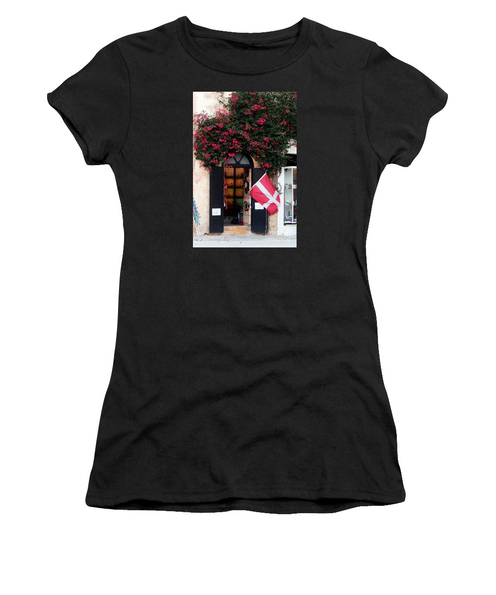Island Of Malta Women's T-Shirt (Athletic Fit) featuring the photograph Doorway Malta by Tom Prendergast