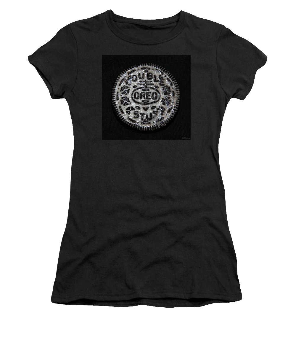 Oreo Women's T-Shirt (Athletic Fit) featuring the photograph Double Stuff Oreo by Rob Hans