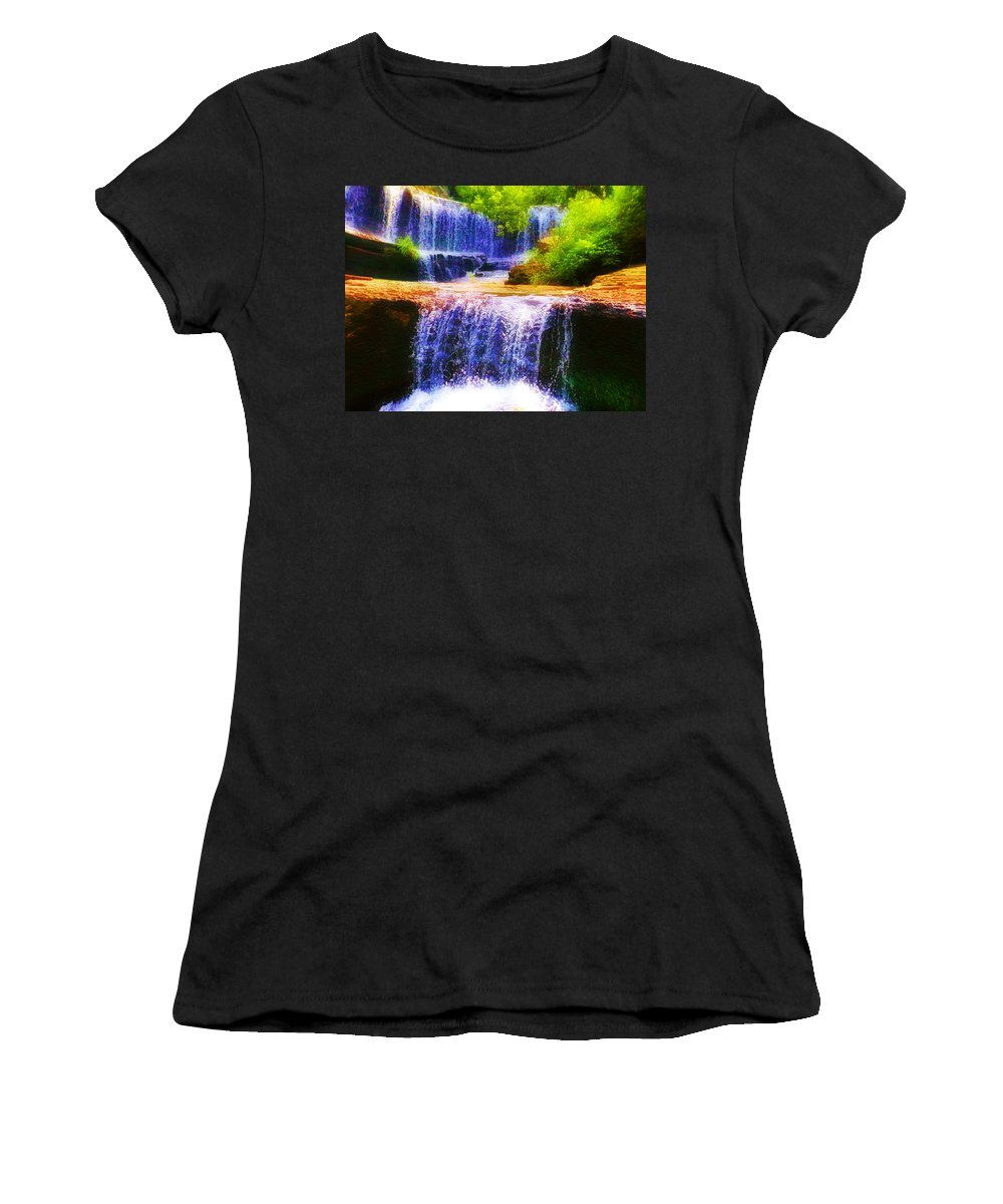Waterfall Women's T-Shirt (Athletic Fit) featuring the photograph Double Waterfall by Bill Cannon