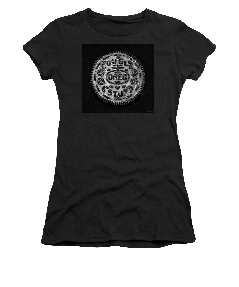 Oreo Women's T-Shirt (Athletic Fit) featuring the photograph Doulble Stuff Oreo In Black And White by Rob Hans