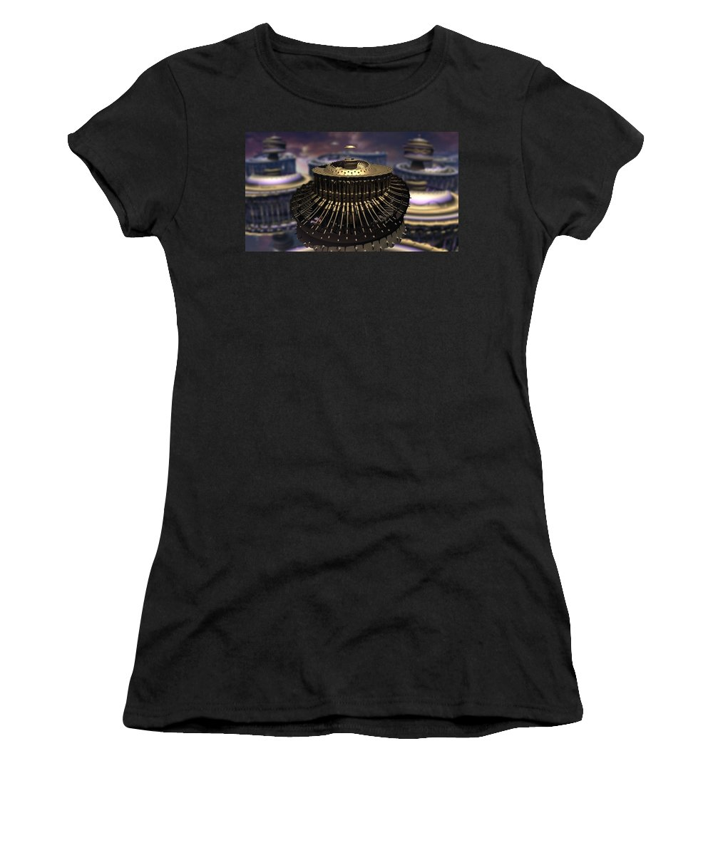 Mandelbulb Women's T-Shirt (Athletic Fit) featuring the digital art Down Came The Mandel by Carroll MacDonald