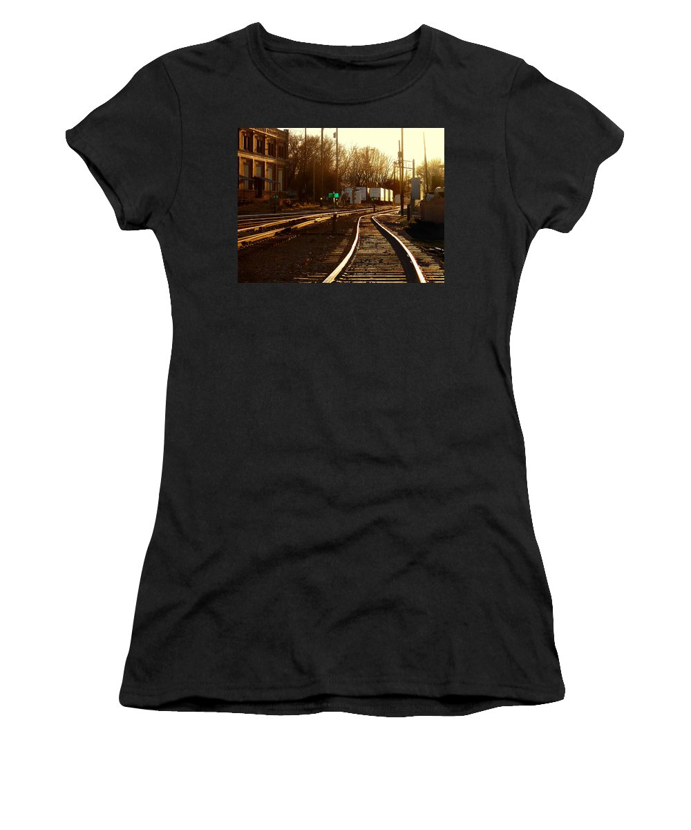 Landscape Women's T-Shirt (Athletic Fit) featuring the photograph Down The Right Track 2 by Steve Karol
