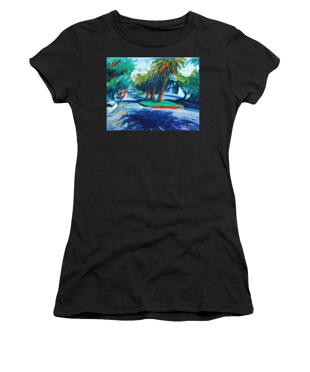 San Francisco Women's T-Shirt featuring the painting Downhill by Rick Nederlof