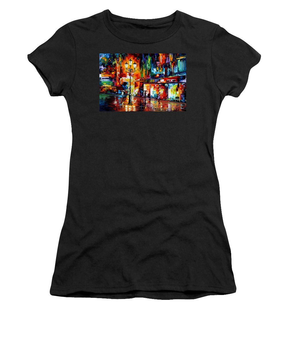 Afremov Women's T-Shirt featuring the painting Downtown Lights by Leonid Afremov