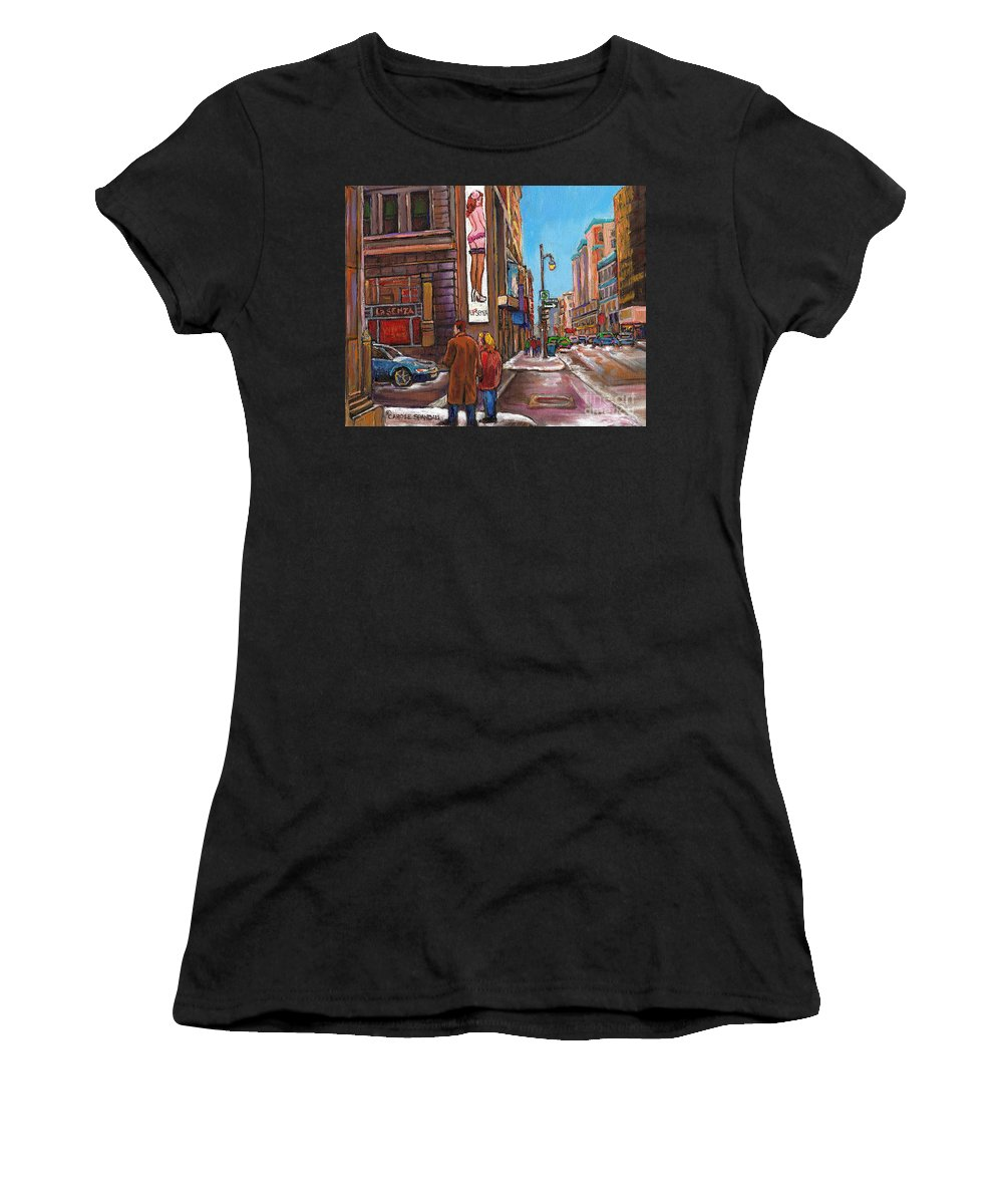 Montreal Women's T-Shirt (Athletic Fit) featuring the painting Downtown Montreal Streetscene At La Senza by Carole Spandau