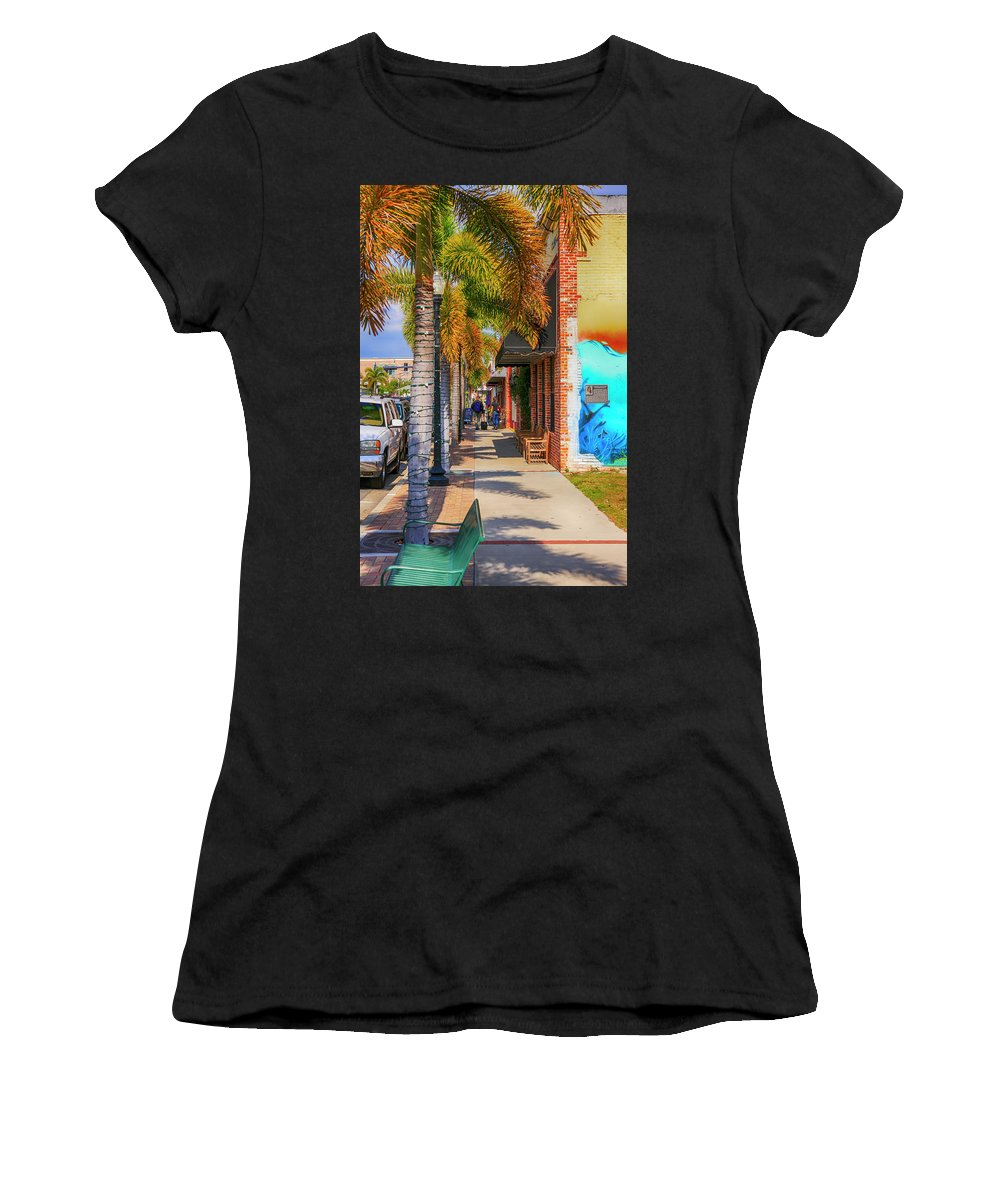 People Women's T-Shirt (Athletic Fit) featuring the photograph Downtown Punta Gorda Fl by Chris Smith