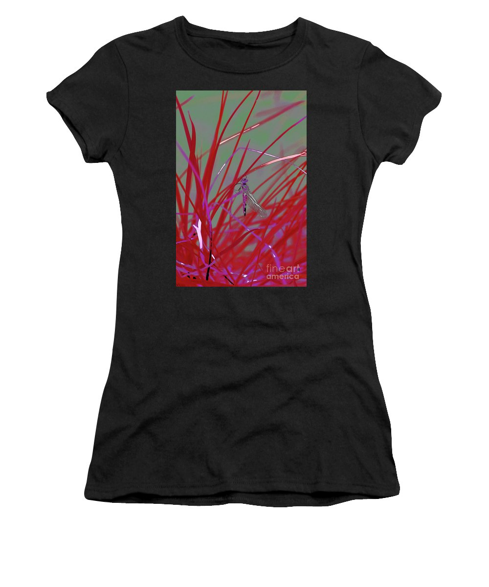 Dragonfly 5 Women's T-Shirt (Athletic Fit) featuring the digital art Dragonfly 5 by Chris Taggart