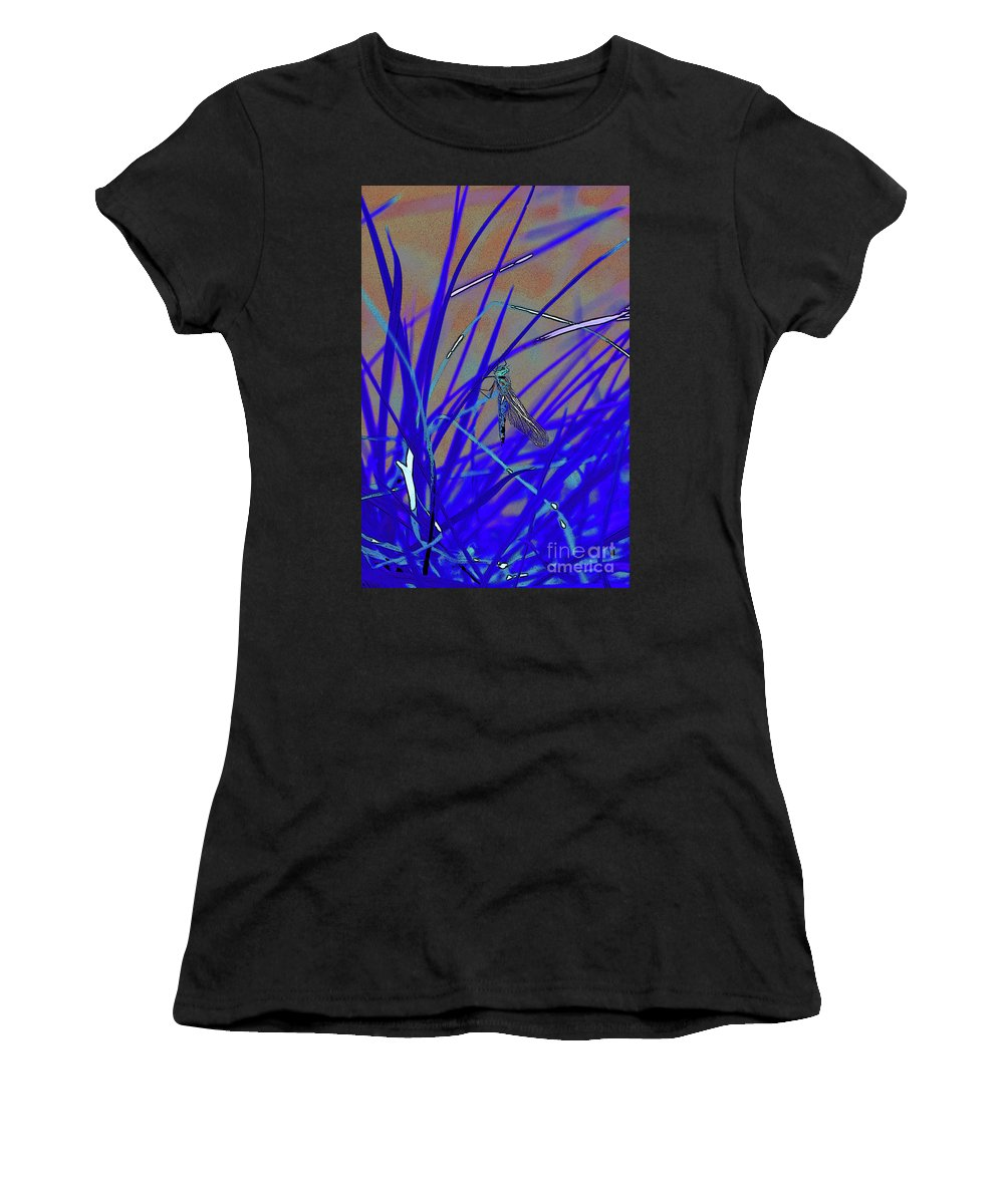 Dragonfly 7 Women's T-Shirt (Athletic Fit) featuring the digital art Dragonfly 7 by Chris Taggart