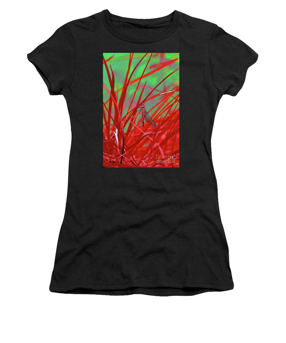 Dragonfly 9 Women's T-Shirt (Athletic Fit) featuring the digital art Dragonfly 9 by Chris Taggart