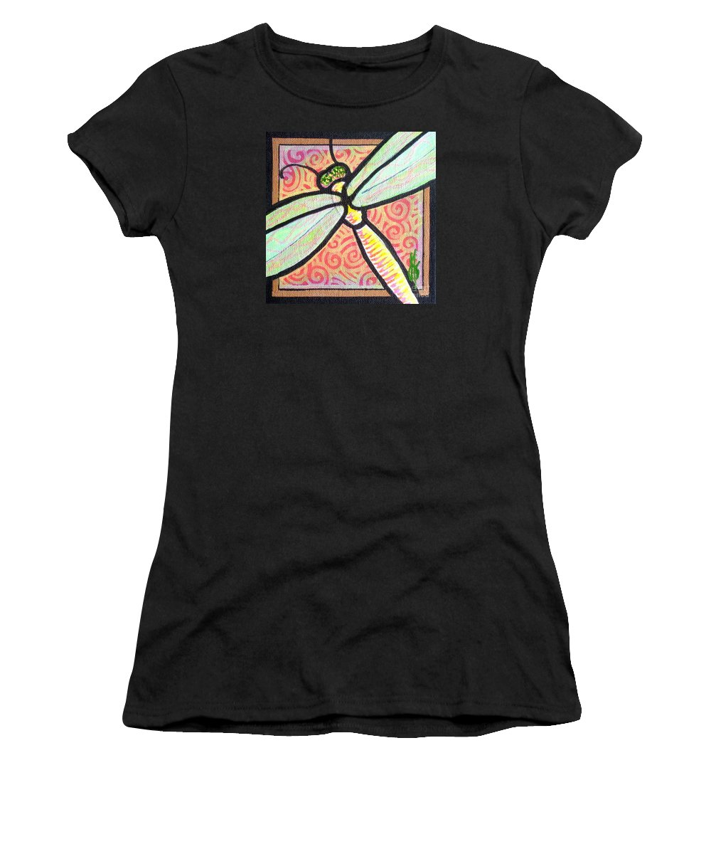 Dragonfly Women's T-Shirt (Athletic Fit) featuring the painting Dragonfly Fantasy 3 by Jim Harris