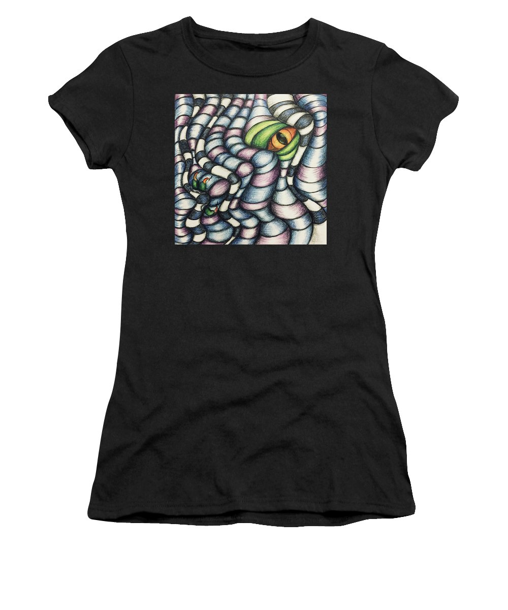Whimsical Women's T-Shirt (Athletic Fit) featuring the drawing Dragon's Eye by Noel Cole