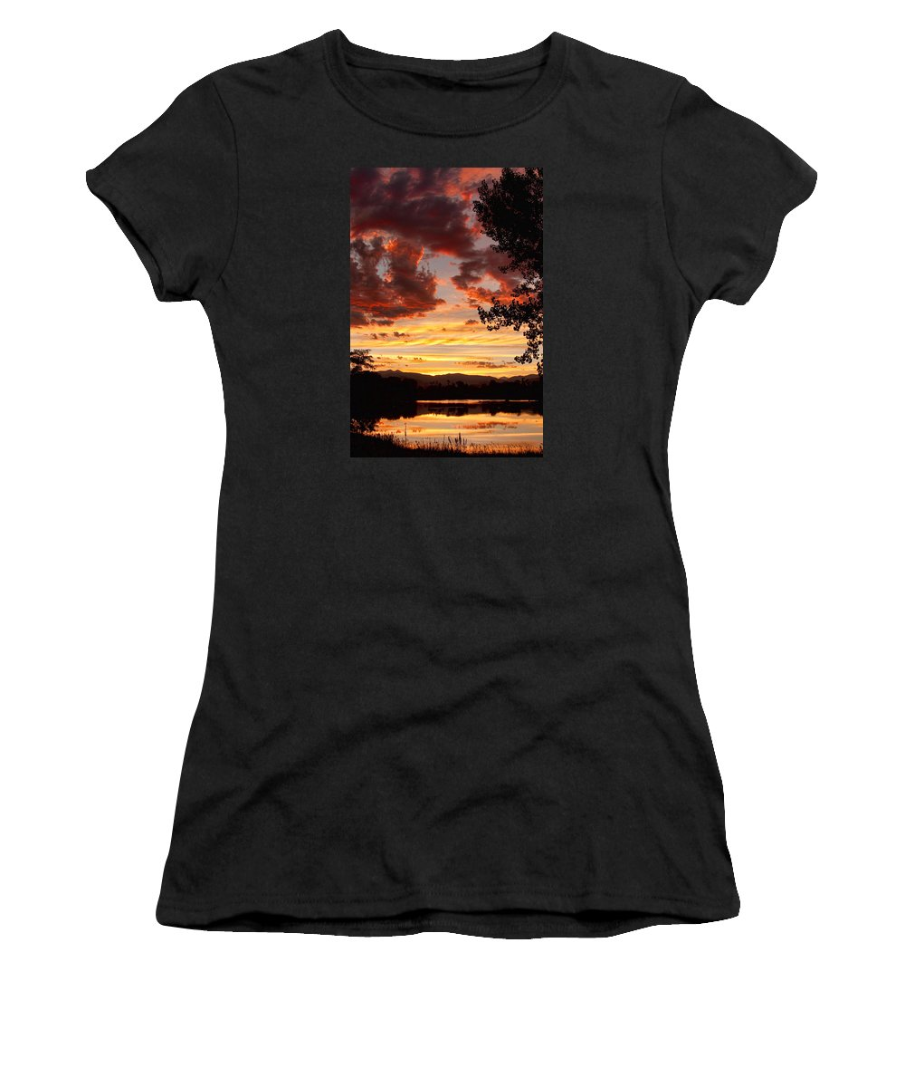 Gold Women's T-Shirt (Athletic Fit) featuring the photograph Dramatic Sunset Reflection by James BO Insogna