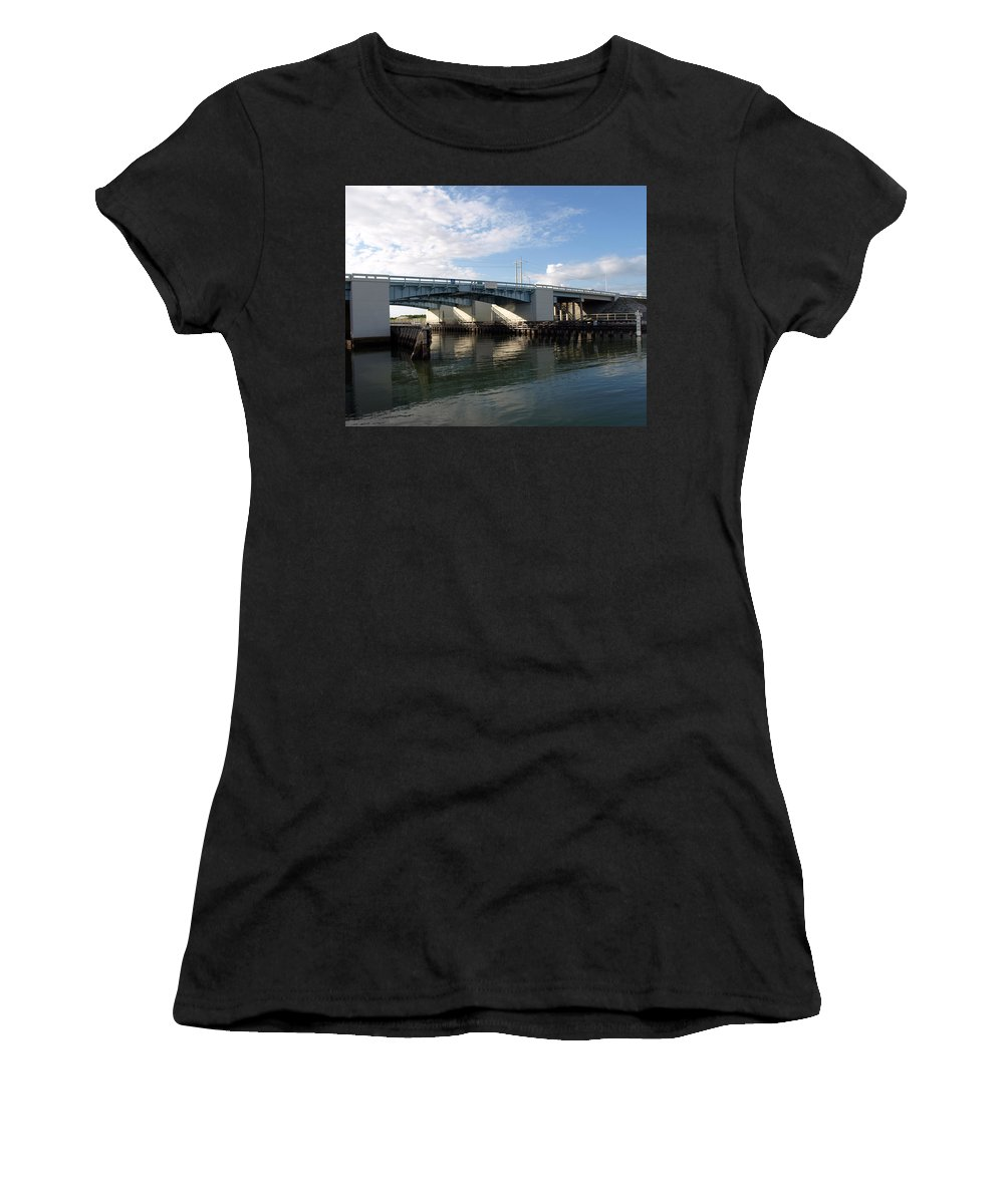 Drawbridge At Port Canaveral In Florida Women's T-Shirt (Athletic Fit) featuring the photograph Drawbridge At Port Canaveral In Florida by Allan Hughes