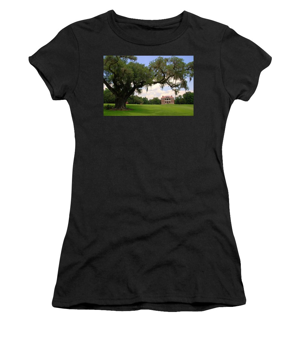 Photography Women's T-Shirt (Athletic Fit) featuring the photograph Drayton Hall Plantation Charleston by Susanne Van Hulst