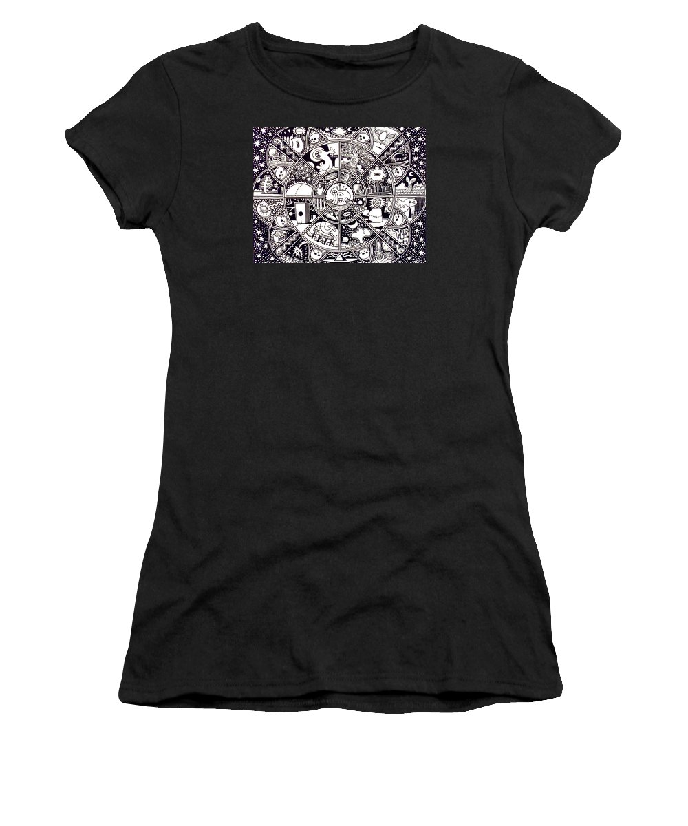 Mandalas Women's T-Shirt featuring the drawing Dream #23 by Larry Carey