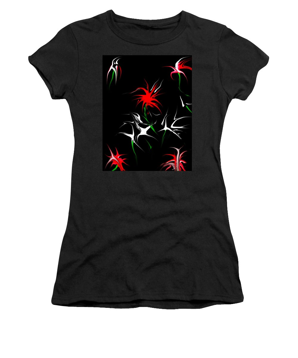 Abstract Women's T-Shirt (Athletic Fit) featuring the digital art Dream Garden II by David Lane