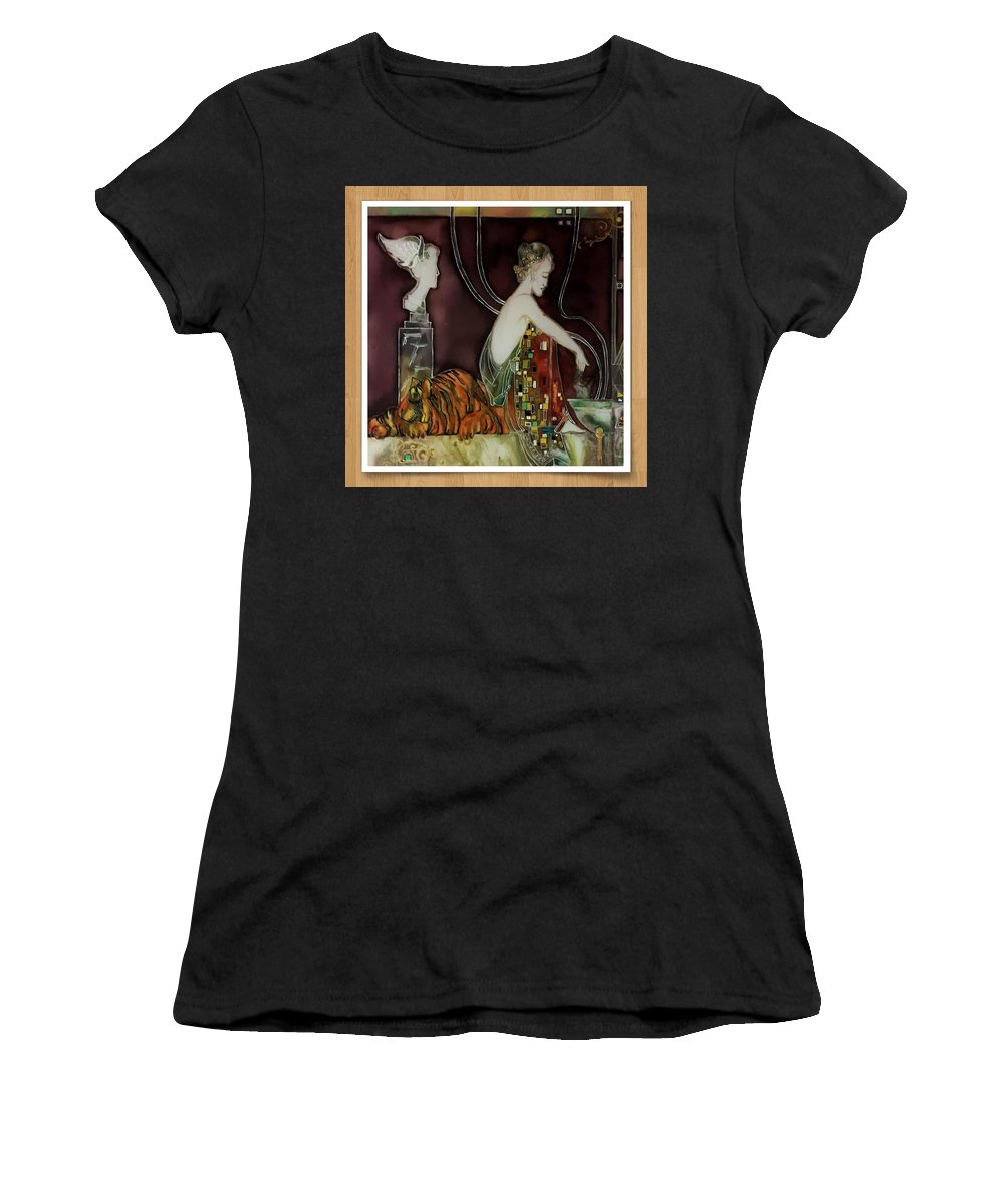 Painting On Silk Women's T-Shirt (Athletic Fit) featuring the painting Dream by Natallia Mazurkevich
