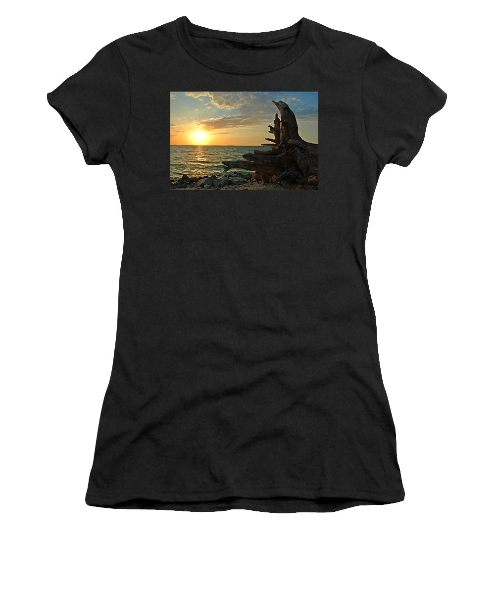 Sunset Women's T-Shirt (Athletic Fit) featuring the photograph Driftwood Sunset by Susanne Van Hulst