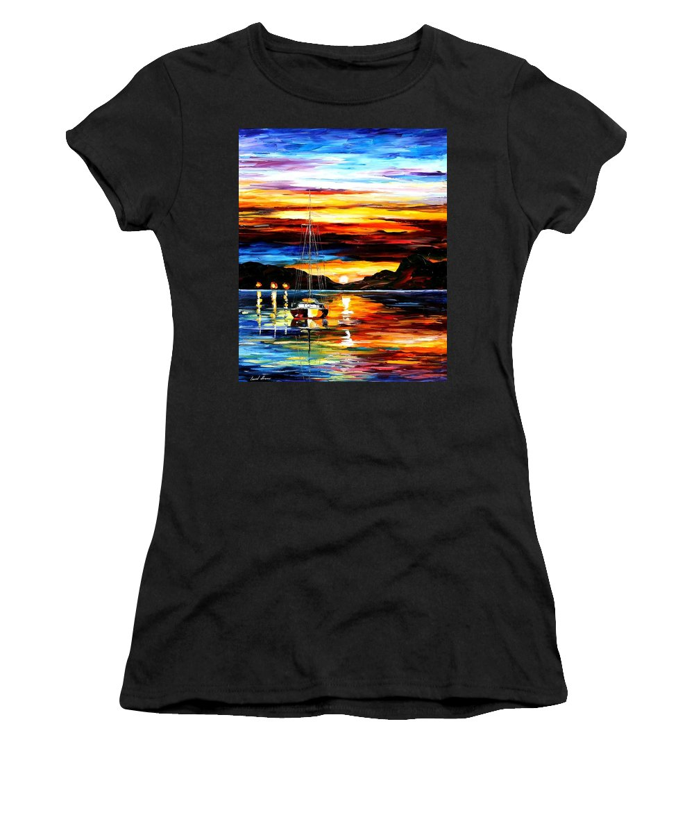Afremov Women's T-Shirt featuring the painting Drowned Sunset by Leonid Afremov