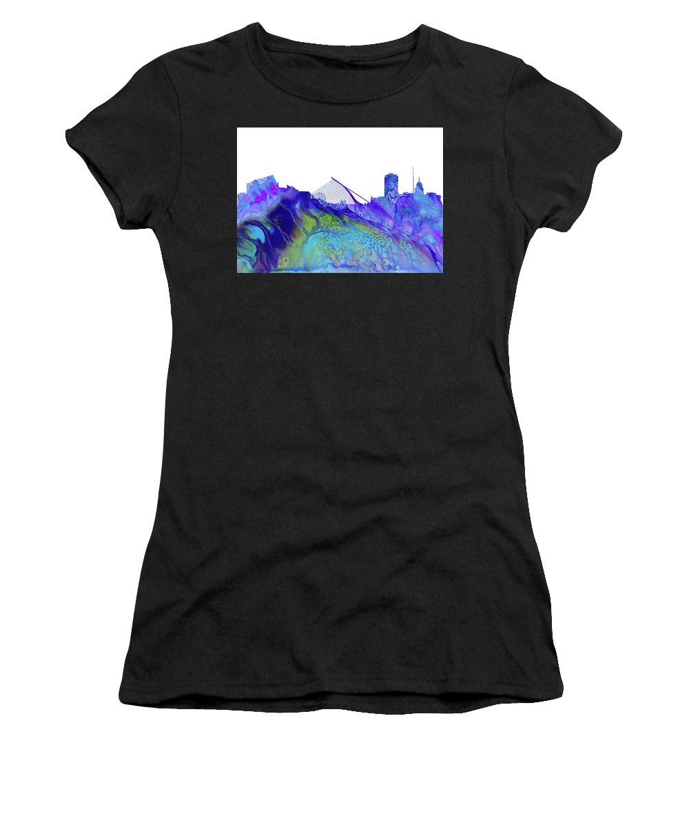 Dublin City Skyline Women's T-Shirt featuring the digital art Dublin Skyline by Erzebet S