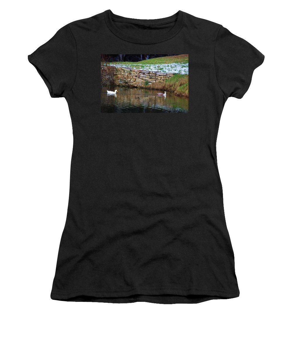 Duck Women's T-Shirt (Athletic Fit) featuring the photograph Duck Duck by Eric Liller