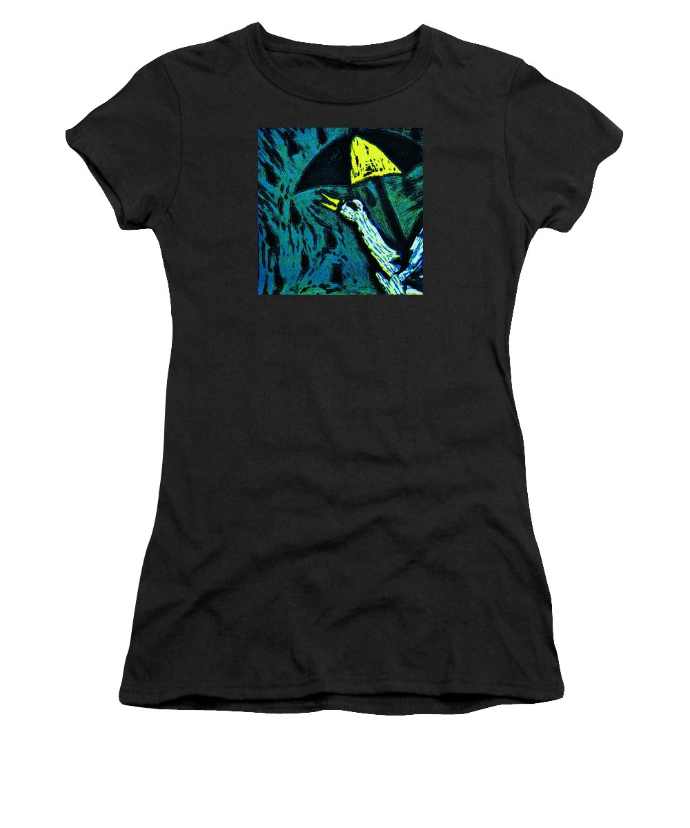 Duck Women's T-Shirt featuring the mixed media Duck With Umbrella Blue by Lucy Deane