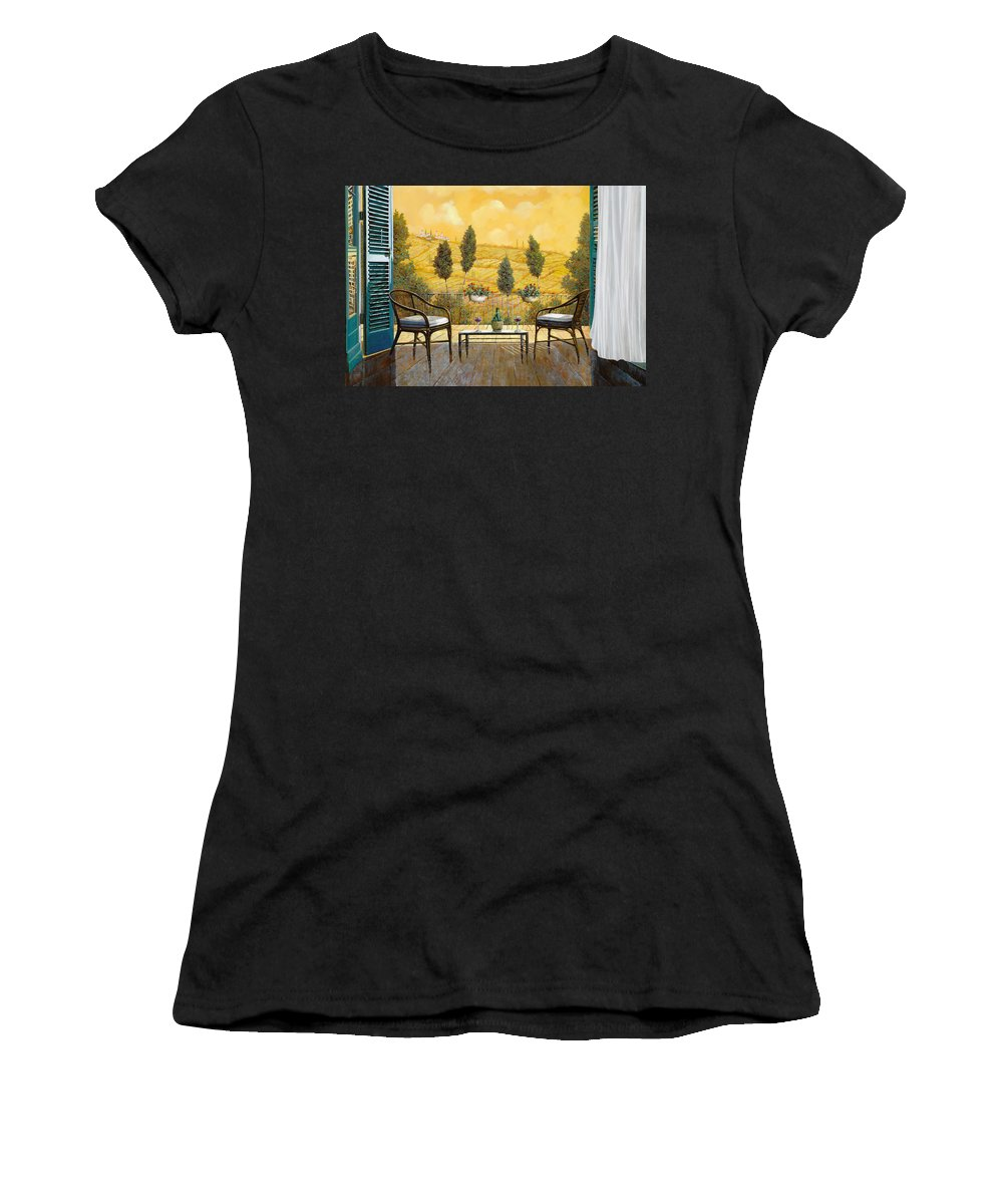 Terrace Women's T-Shirt (Athletic Fit) featuring the painting due bicchieri di Chianti by Guido Borelli